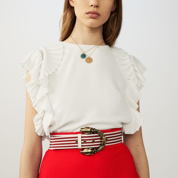 Cintura a righe in cotone : Cinture colore Rosso