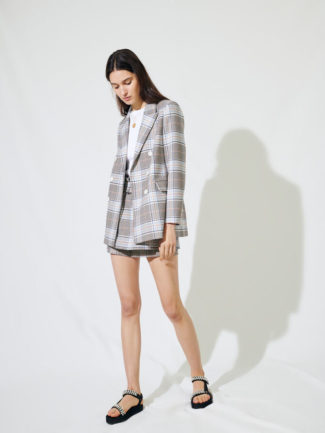 Giacca stile blazer incrociata a quadri - Giacche - MAJE