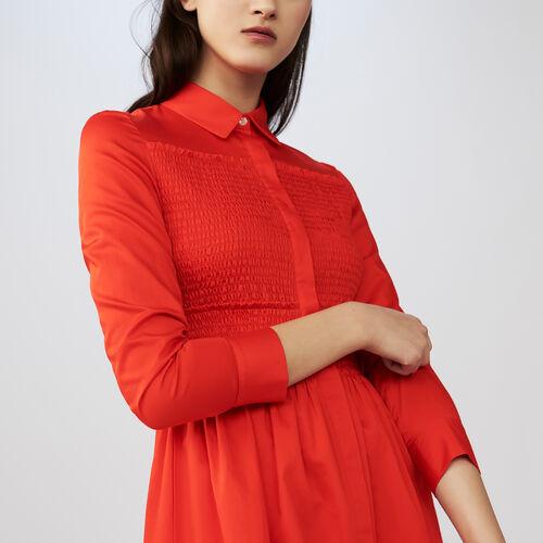 Scamiciato con ricami punto smock : Vestiti colore Rosso