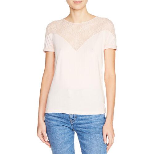 Top bimateriale con pizzo : T-shirts colore Nude
