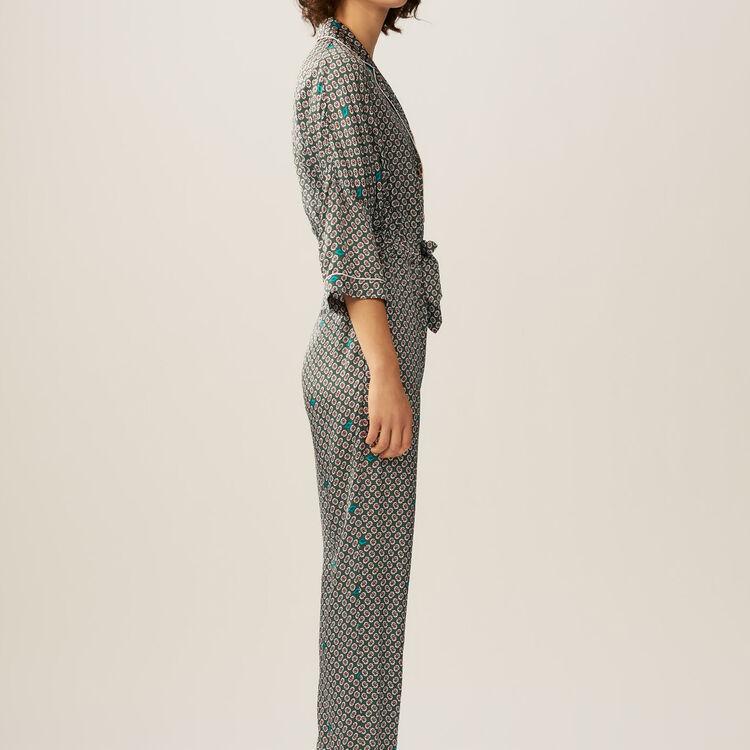 Tuta pantalone in satin stampato : Tute colore IMPRIME
