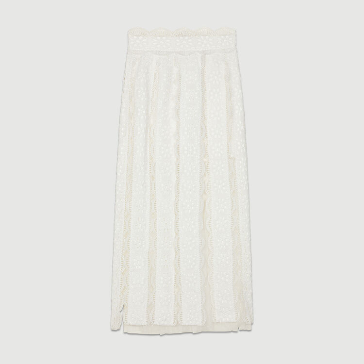 Gonna lunga in plumetis con ricami : Gonne e shorts colore Bianco
