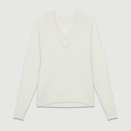 Long-sleeved, V-neck sweater : Maglieria colore ECRU