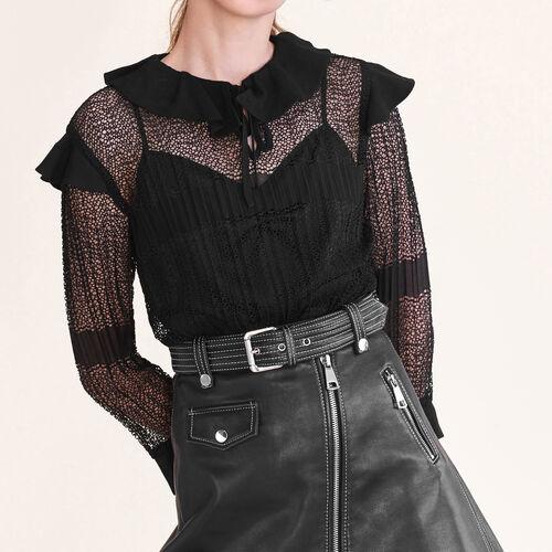 Top in maglia traforata : Tops colore Nero