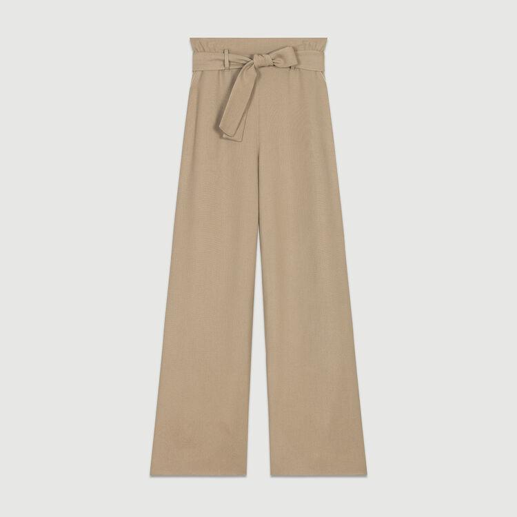 Pantaloni larghi con cintura : Pantaloni colore Beige