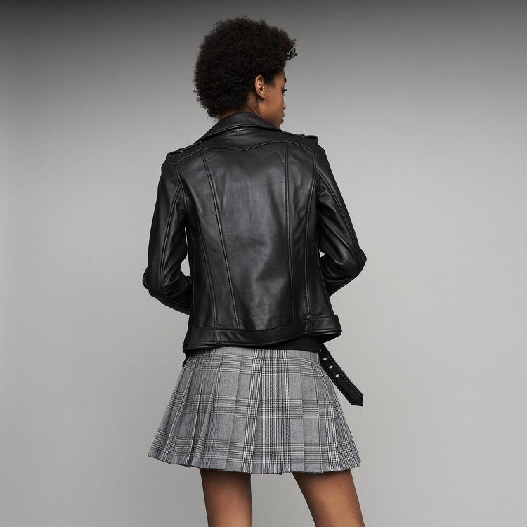Giubbotto in pelle Bubble con cintura : Prêt-à-porter colore Nero