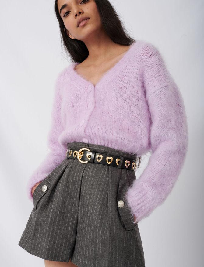 Cardigan mohair e bottoni rivestiti - Pullover e cardigan - MAJE