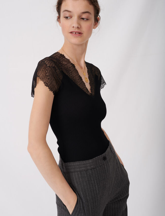 Jersey top with lace trim - Tops e Camicie - MAJE
