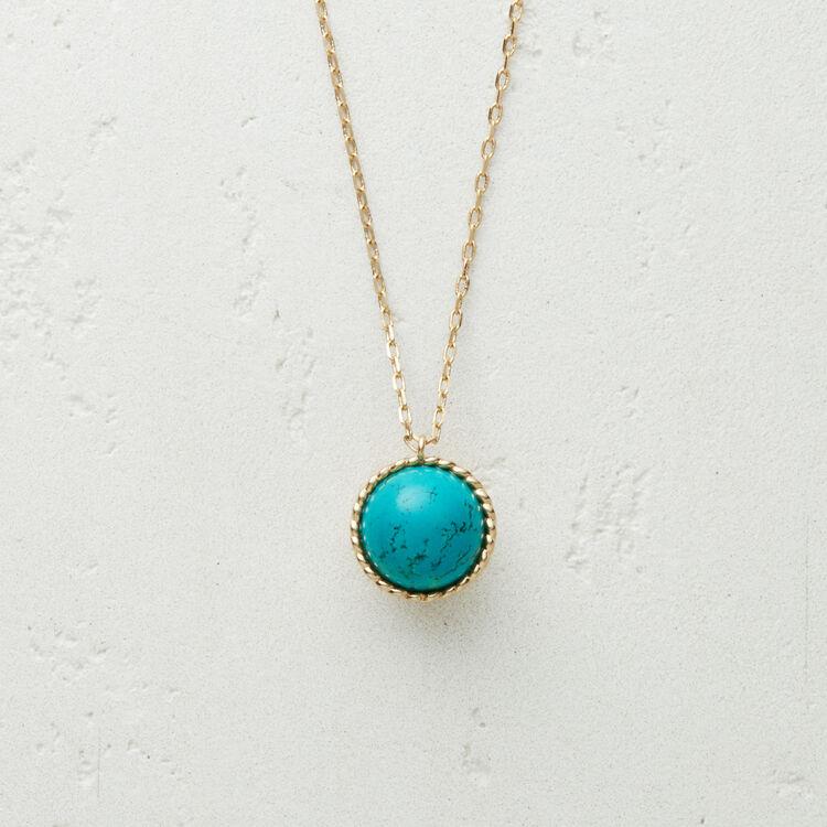 Collana con sfera in pietra naturale : Gioelli colore BLEU AZUR