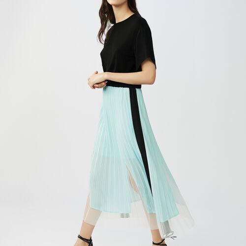 Vestito plissettato bicolore : Vestiti colore Nero