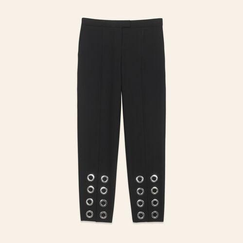 Pantaloni dritti con occhielli in crêpe - Pantaloni - MAJE