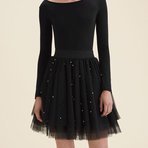 Gonna corta in tulle con perle : Gonne e shorts colore Nero