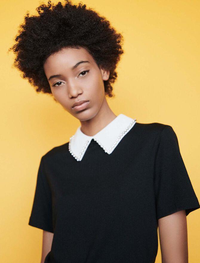 Tee-shirt con collo di strass rimovibile - Midseason-Sales_UK_30% - MAJE