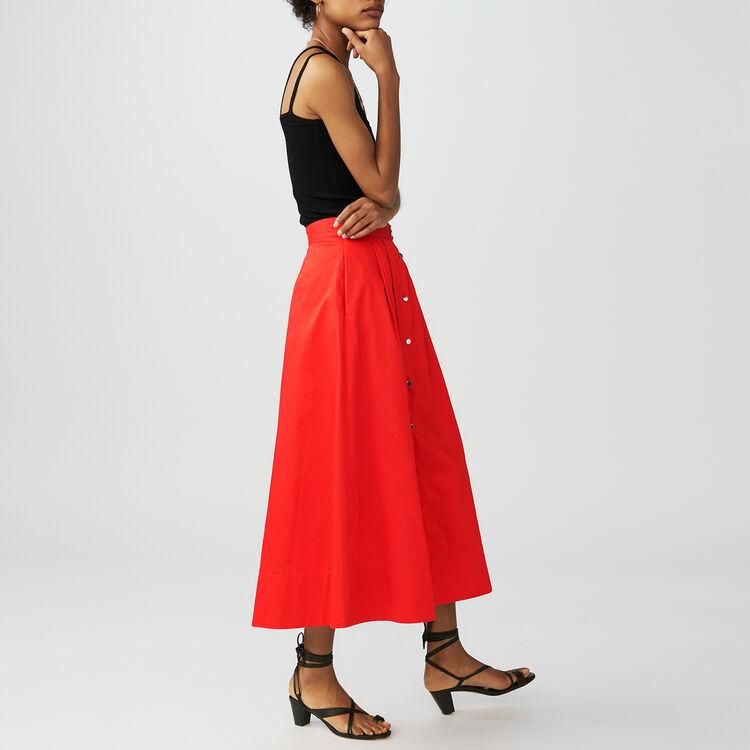 Gonna lunga abbottonata in cotone : Gonne e shorts colore Rosso
