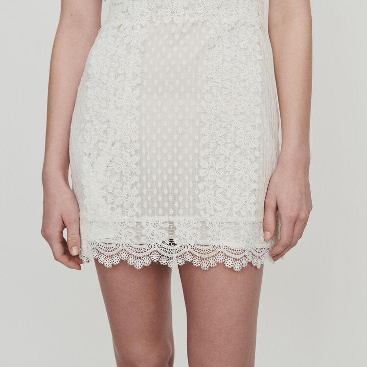 Vestito corto in pizzo : Vestiti colore Bianco