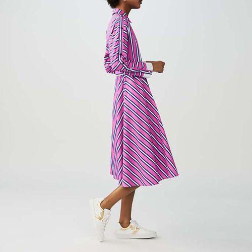 Abito lungo con cintura : Twisted stripes colore A Righe