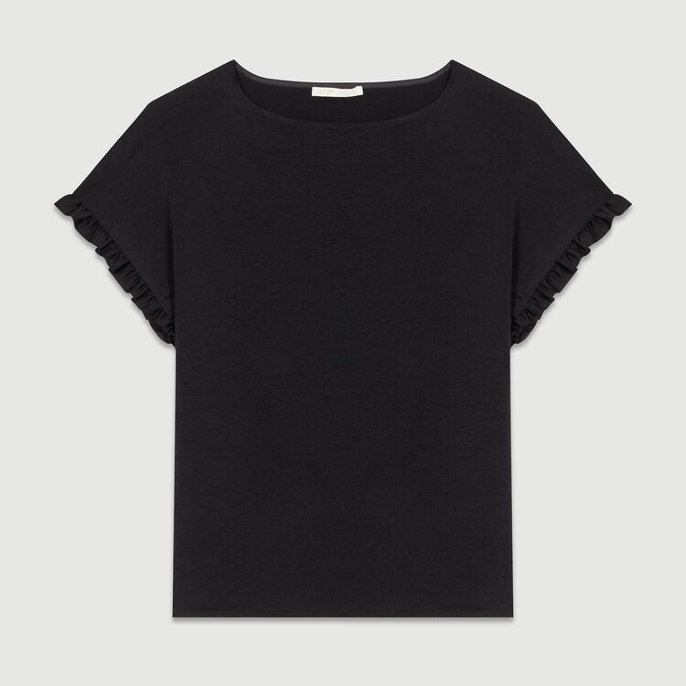 T-shirt loose con volant sulle maniche : T-Shirts colore Nero