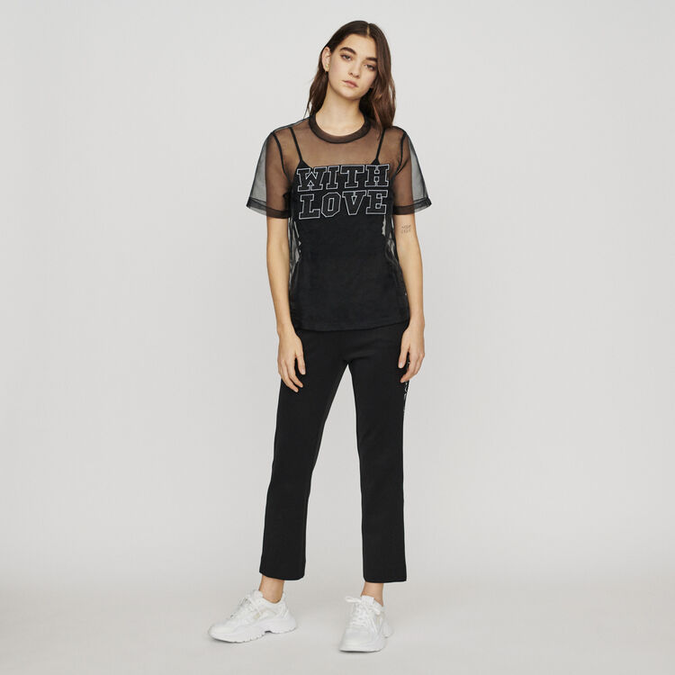 Top in organza con messaggio : T-Shirts colore Nero