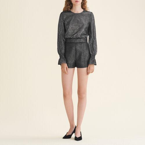 Tuta corta in tulle e lurex : Gonne e shorts colore Argento