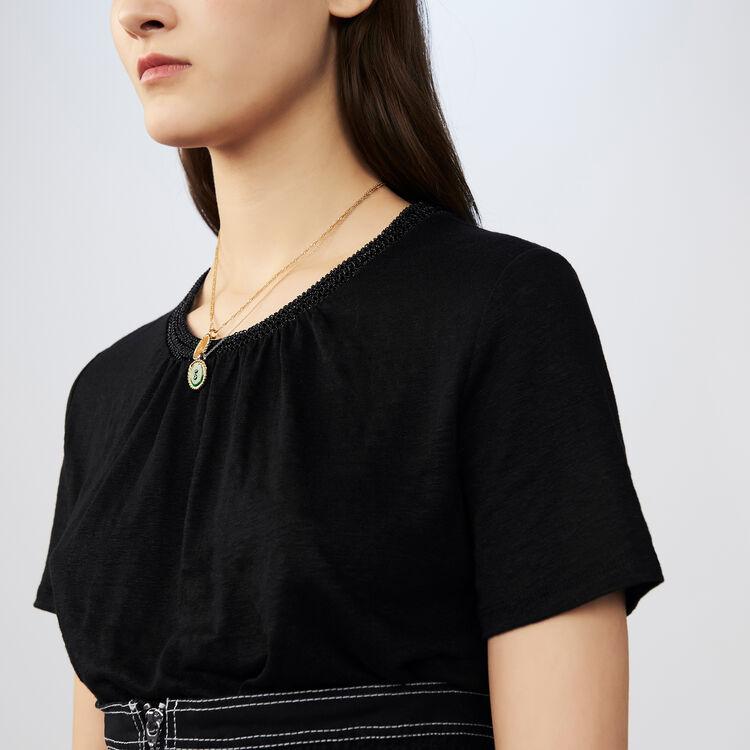 T-shirt in lino con collo all'uncinetto : T-Shirts colore Nero