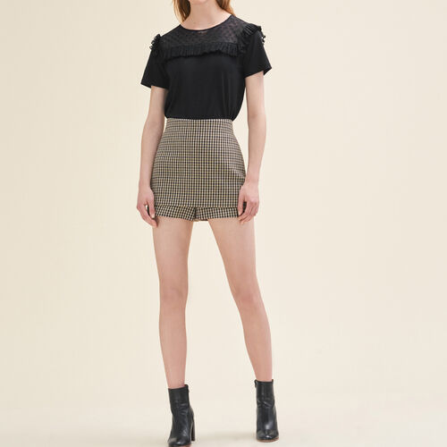 Short corti a quadri : Gonne e shorts colore Jacquard