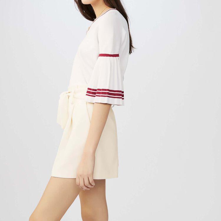 Pantaloncini a vita alta in crêpe : Gonne e shorts colore Bianco