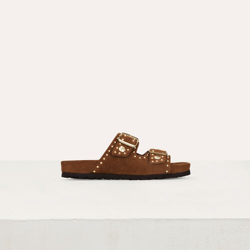 Sandali in pelle ornati di borchie : Scarpe piatte colore Cammello