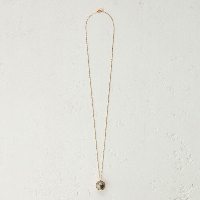 Collana con sfera in pietra naturale : Gioelli colore Argento Antico