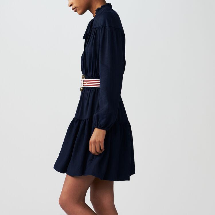 Vestito con volant e ricami punto smock : Vestiti colore BLEU NUIT