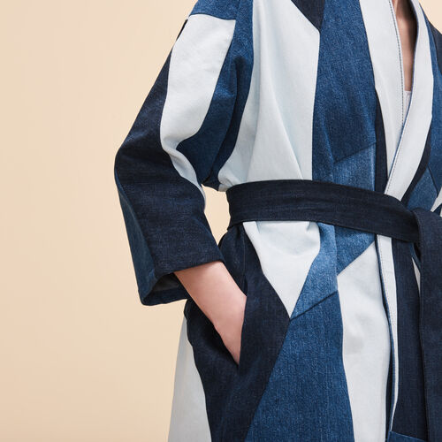 Giacca di jeans con patchwork - Denim - MAJE