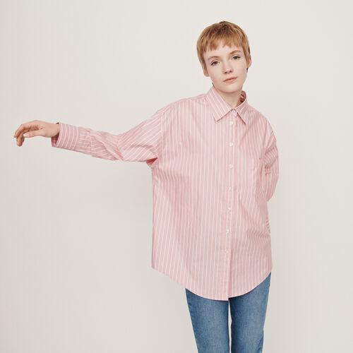Camicia oversize a righe : Tops e Camicie colore Rosa
