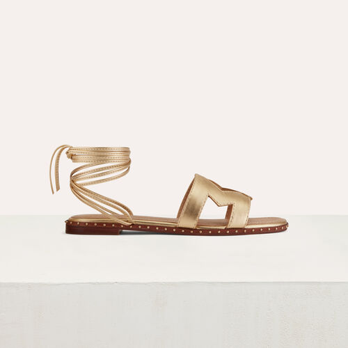 Flat leather sandals : Scarpe colore Oro
