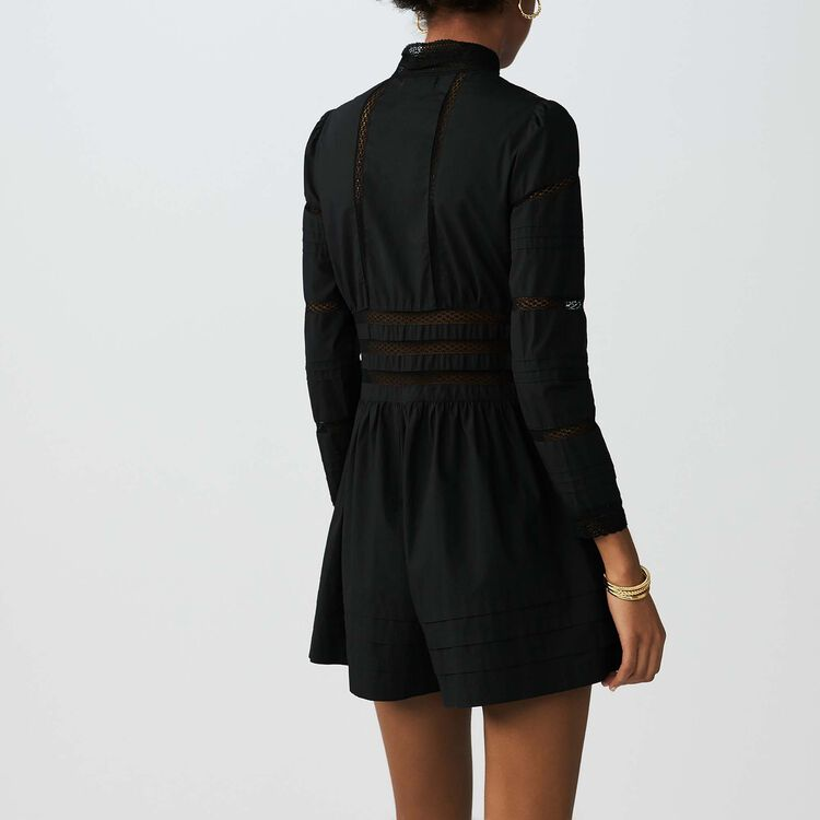 Tuta corta con inserti in pizzo : Gonne e shorts colore Nero