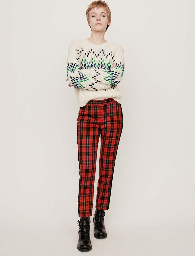 Velvet piped plaid pants - Pantaloni e Jeans - MAJE