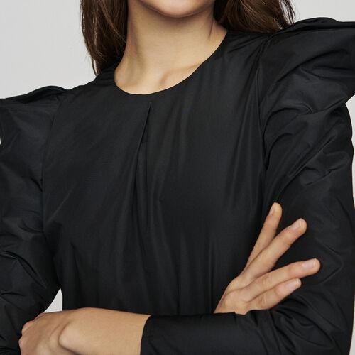 Top con spalle in taffetà : Tops colore Nero