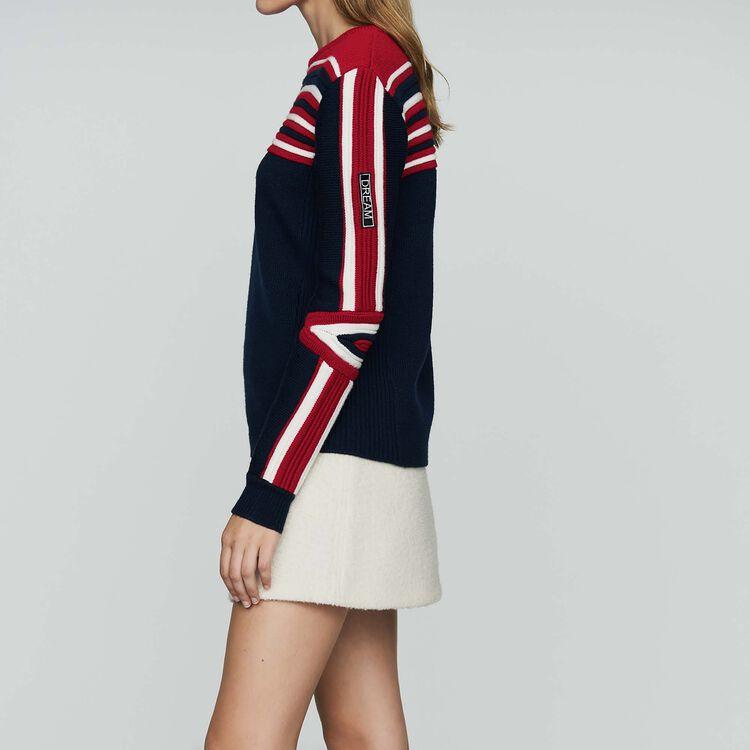 Pull in maglia fantasia tricolore : Maglieria colore Blu Marino