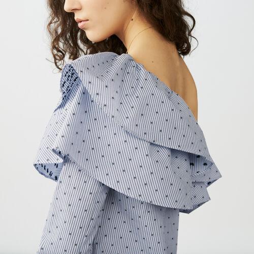 Top a righe con spalle asimmetriche : Tops colore Blu