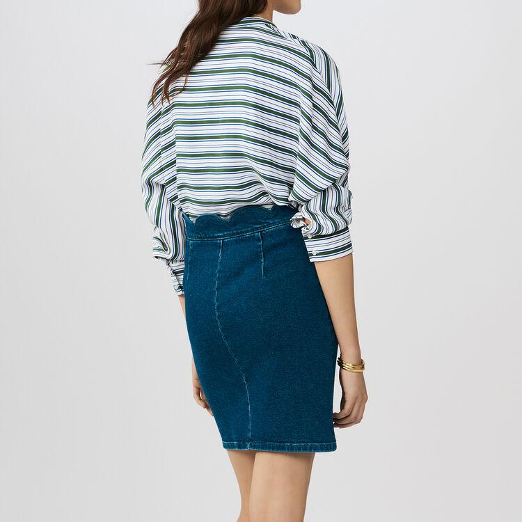 Gonna in denim con intagli fantasia : Gonne e shorts colore Denim