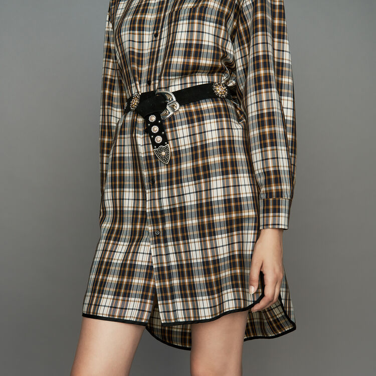 Cintura in suede con borchie e strass : Cinture colore Nero