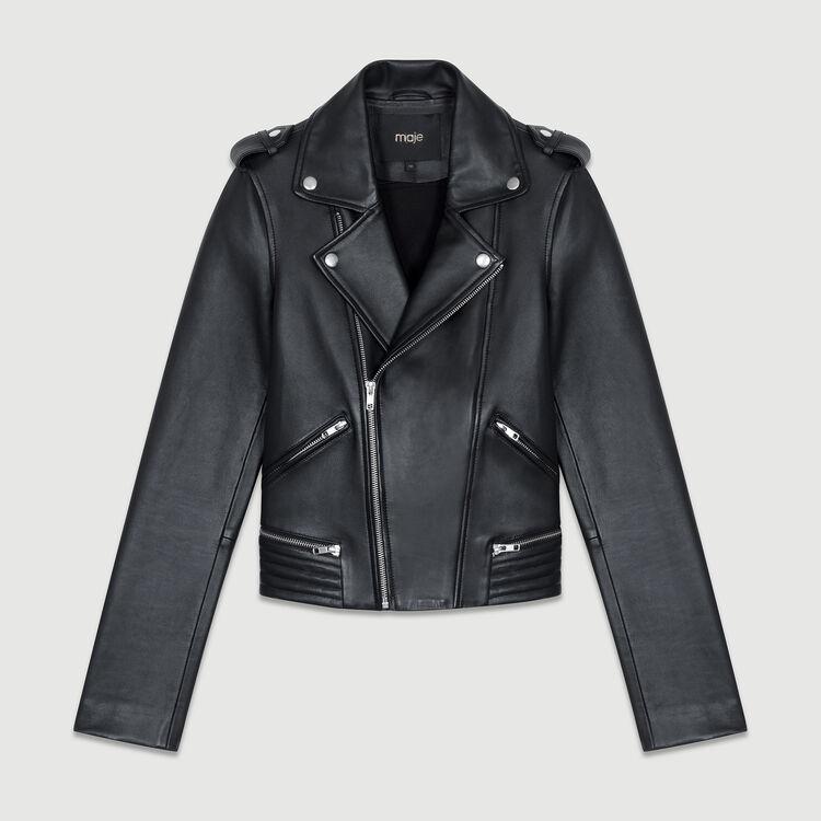 Giubbotto in pelle stile biker : Cappotti e Giubbotti colore Nero