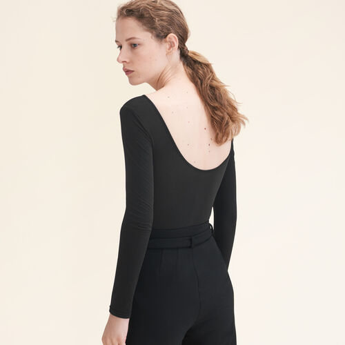 Body in jersey a maniche lunghe : Tops colore Nero