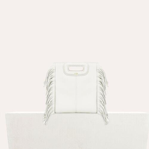 M mini borsa con frange in pelle : Borse M colore Bianco
