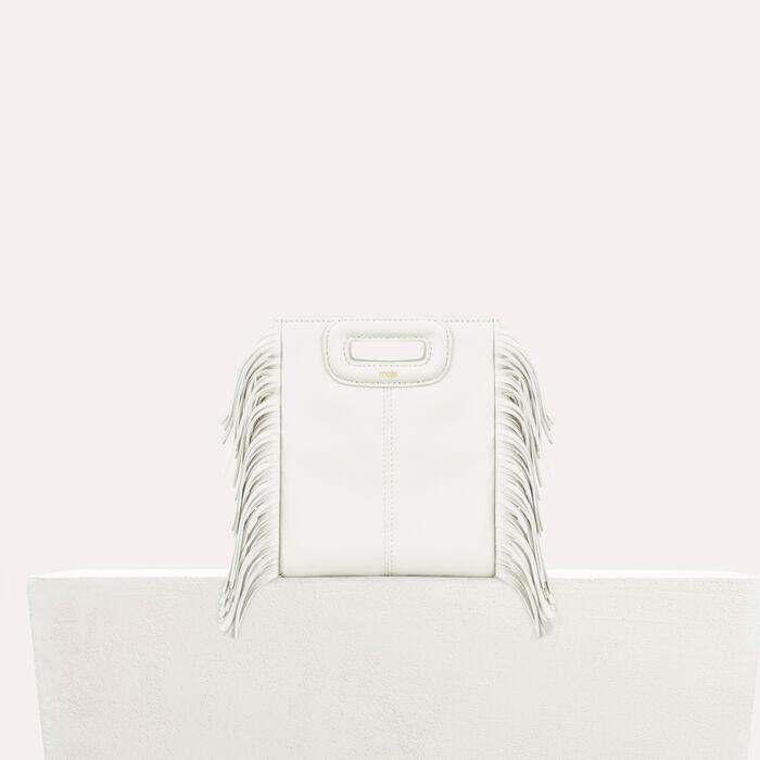 M mini borsa con frange in pelle : M Mini colore Bianco