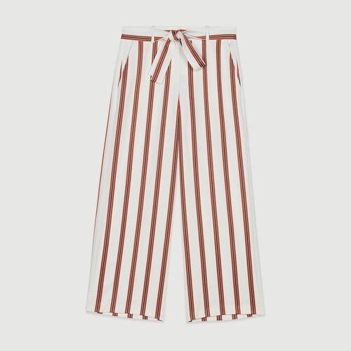 Pantaloni larghi a righe con cintura : Pantaloni e Jeans colore A Righe