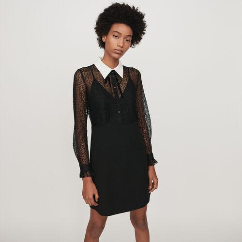 Vestito in pizzo e crêpecon : Vestiti colore Nero