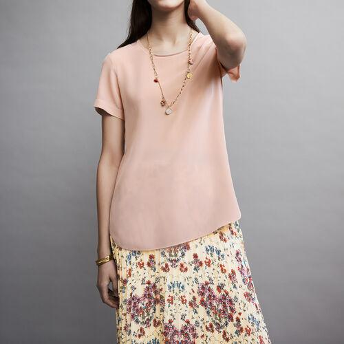Top in seta con dettagli lavorati : Tops colore Rosa Tenue