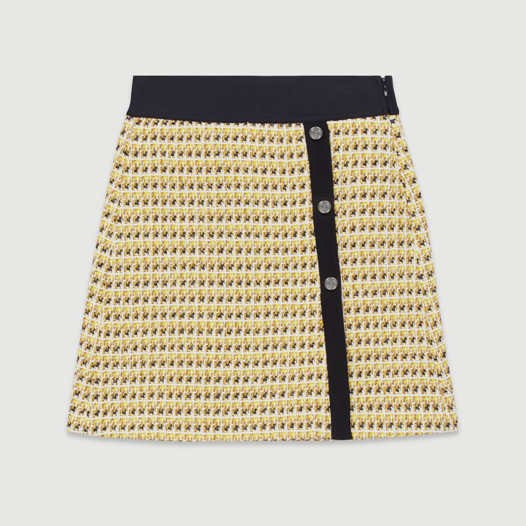 Gonna corta in tweed e lurex : Gonne e shorts colore Giallo