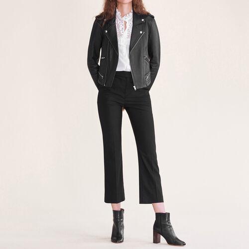 Pantaloni da città in lana : Pantaloni colore Nero