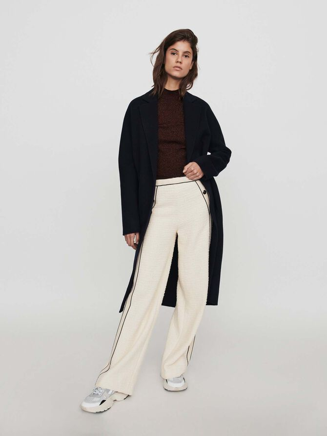 Pantalone largo stile tweed -  - MAJE