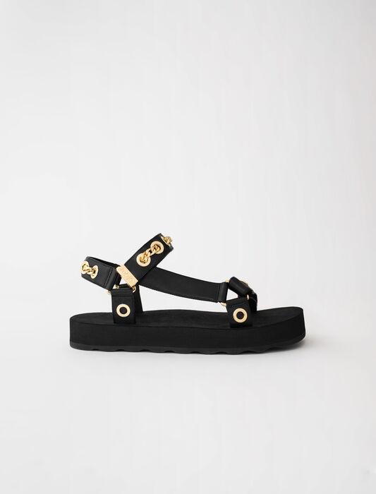 Sandali in pelle con occhielli e catena : -20% colore Nero